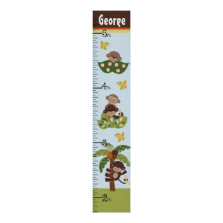 Personalized Curly Tails Monkeys Growth Chart