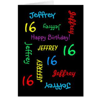 Personalized Custom Black 16th Birthday Greeting Card