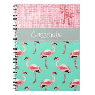Personalized Custom Flamingo Pink Pastel Spiral Notebook