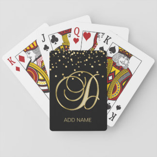 Personalized Custom Monogram Letter 'D' Gold Black Playing Cards