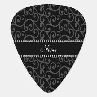 Personalized custom name black swirls guitar pick