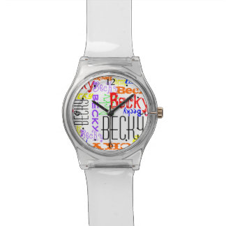 Personalized Custom Name Collage Colorful Watch