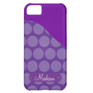 Personalized Custom Name Purple Polka Dots Wave iPhone 5C Case