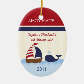 Personalized Custom Ornament Ahoy Mate Boy Nautica