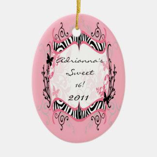 Personalized Custom Ornament Butterfly Zebra Print