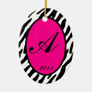 Personalized Custom Ornament Hot Pink Zebra Print