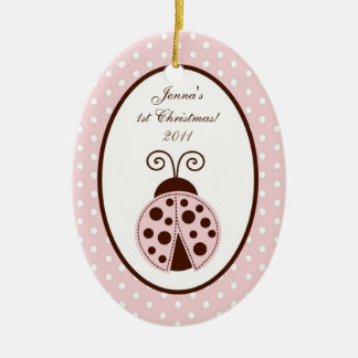 Personalized Custom Ornament Pink Ladybug