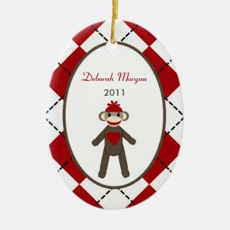 Personalized Custom Ornament Red Sock Monkey