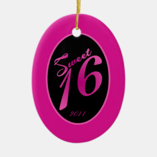 Personalized Custom Ornament Sweet 16 Hot Pink Bla