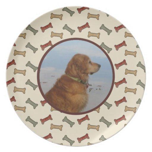 Personalized Custom  Pet Photo Dog Bone Dinner Plates