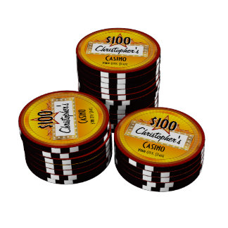 Personalized Custom Poker Chips, Gold/Red Casino