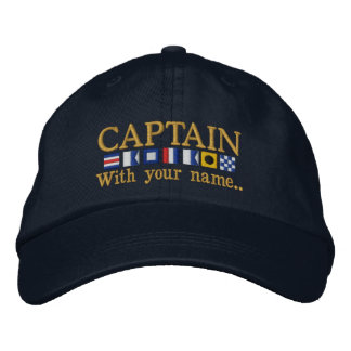 Personalized Custom Your Captain Nautical Flags Embroidered Cap