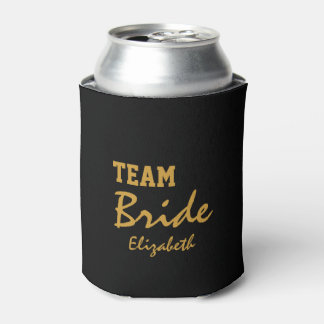 Personalized Customized Gold Heart Bride Can Cooler