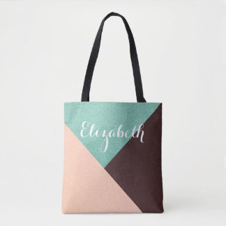 Personalized Customized Pink Green Brown Tote Bag