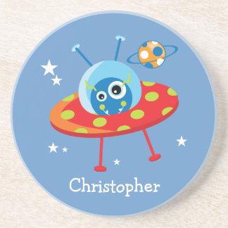 Personalized Cute Alien Spaceship Coaster