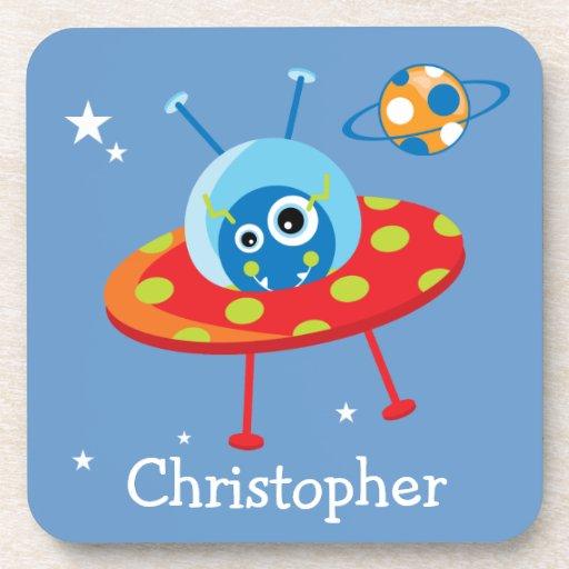 Personalized Cute Alien Spaceship Beverage Coaster