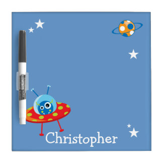 Personalized Cute Alien Spaceship Dry Erase Board
