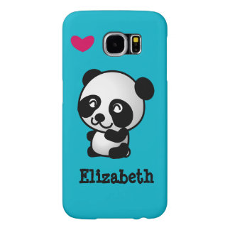 Personalized cute and happy panda bear with heart.