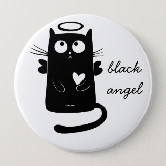 Personalized Cute Angel Black Cat 10 Cm Round Badge