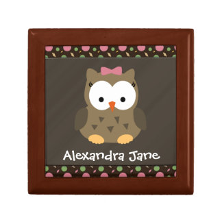 Personalized Cute Baby Girl Owl, Trinket/Gift Box Small Square Gift Box