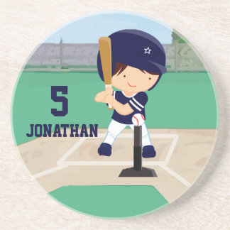 Personalized Cute Baseball cartoon player Beverage Coasters