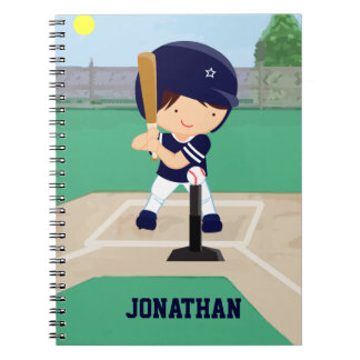 Personalized Cute Baseball cartoon player Notebook