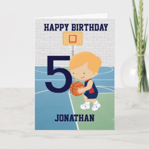 82cfccbd7 Personalized Cute basketball Birthday Card