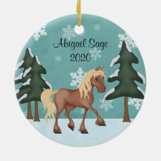 Personalized Cute Brown Horse Christmas Round Ceramic Decoration