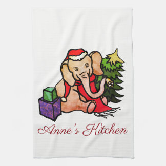 Personalized Cute Cartoon Christmas Elephant Tea Towel