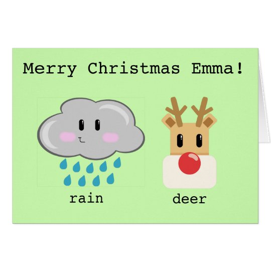 Personalized cute cartoon christmas reindeer card