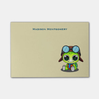 Personalized Cute Cartoon Turtle in Aviator Hat Post-it Notes