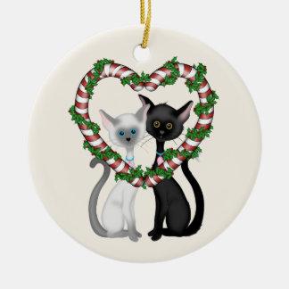 Personalized Cute Cat Couple and Candy Cane Wreath Christmas Ornament