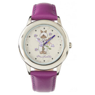 Personalized Cute Cat, Flowers, Paw Prints Girls Wristwatches