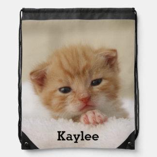 Personalized Cute Cat Kitten Drawstring Bag