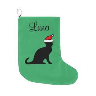 Personalized cute cat with Santa hat pet animal Large Christmas Stocking
