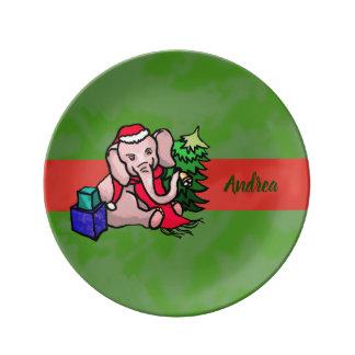 Personalized Cute Christmas Cartoon Elephant Plate