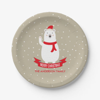 Personalized Cute Christmas Polar Bear Paper Plate