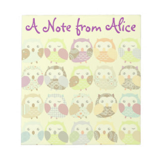 Personalized Cute Colorful Owls Notepad