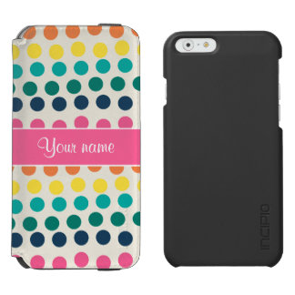 Personalized Cute Colorful Polka Dots Incipio Watson™ iPhone 6 Wallet Case