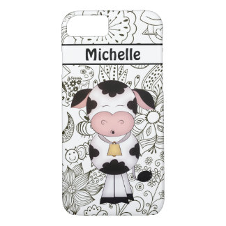 Personalized Cute Cow in Garden iPhone Case