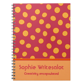 Personalized Cute Cranberry Orange Circles Notebook
