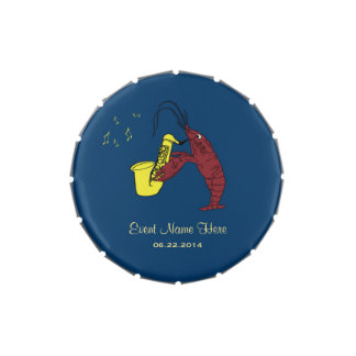 Personalized Cute Crawfish Lobster Saxophone Candy Tin