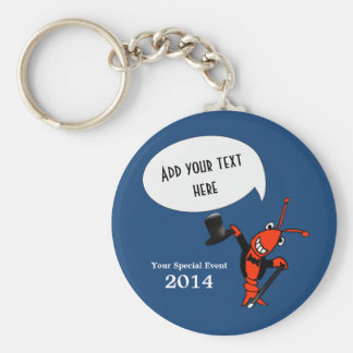Personalized Cute Crawfish Lobster Top Hat Blue Key Ring