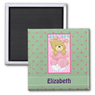 Personalized Cute Cuddly Bear Dressed in Pink Square Magnet