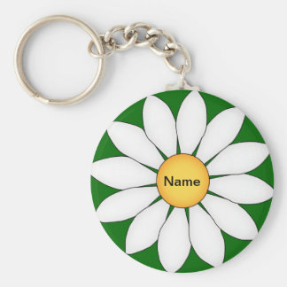 Personalized Cute Daisy Basic Round Button Key Ring