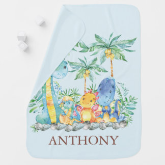 Personalized Cute Dinosaurs Boys Blanket