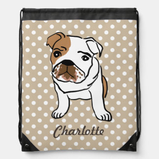 Personalized Cute English Bulldog Drawstring Bag