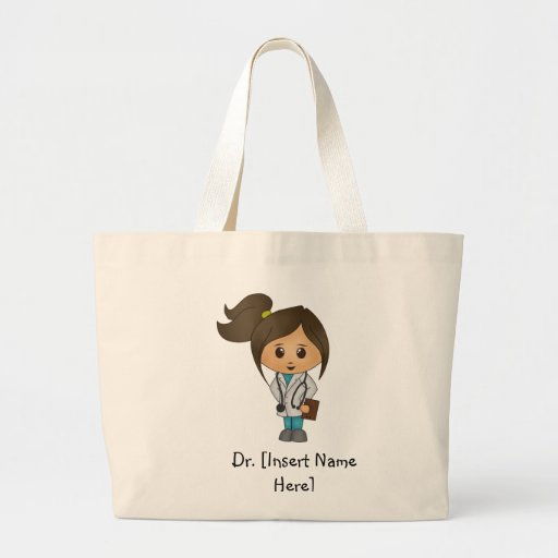 Personalized Cute Female Brunette Doctor Tote Bag