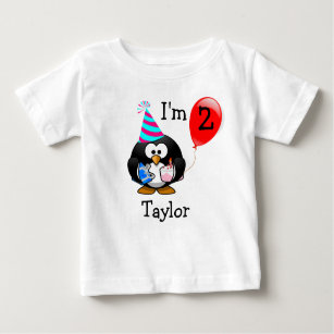 Personalized Cute Funny 2nd Birthday Party Penguin Baby T Shirt