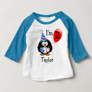 Personalized Cute Funny 2nd Birthday Party Penguin Baby T-Shirt